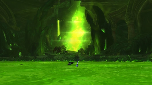 You can see a big fight going on between Illidan, Prophet Velen, Khadgar and Kil'jaeden in the lower areas of the Fallen Avatar fight.