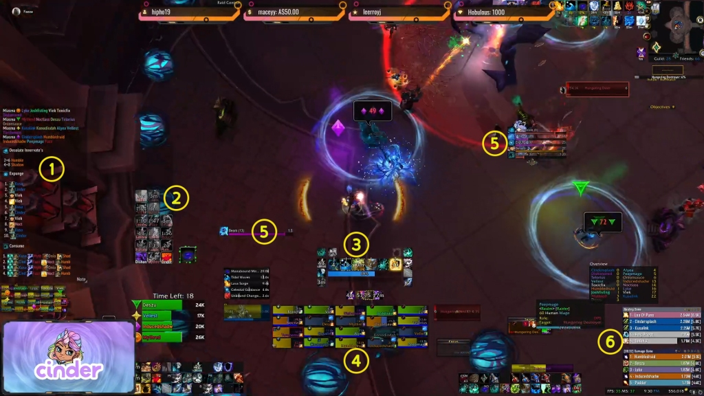 Ciinder's UI with numbers to show each addon in use.